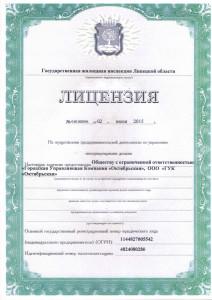 Лицензия ООО ГУК Октябрьская стр. 1